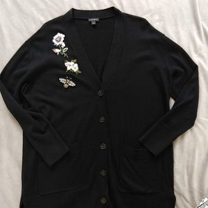 Ann Taylor Oversized Bee and Flower Cardigan